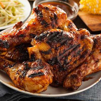 Barbecued chicken with homemade bbq sauce