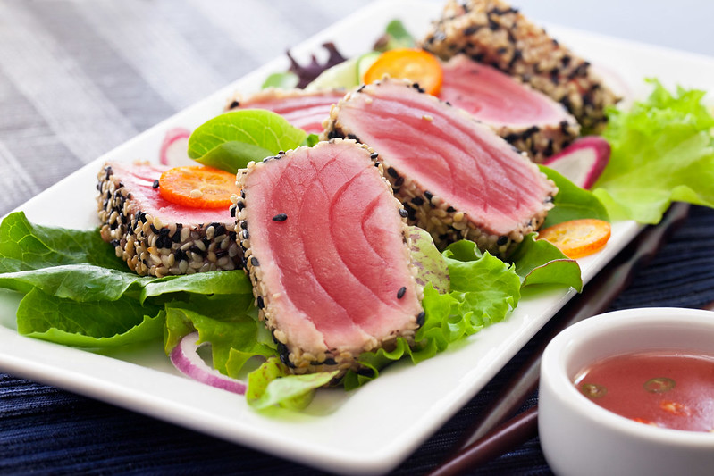 Ginger, tuna and vegetables