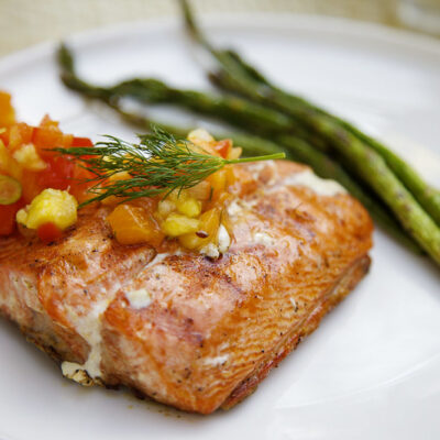 Salmon with a pineapple