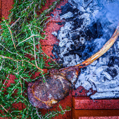 Scotch Steaks in the Coals with Stilton Butter