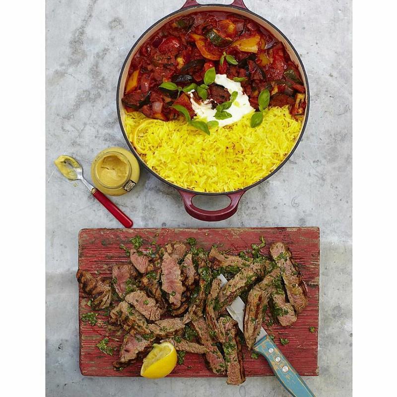 Steak with Ratatouille and saffron rice