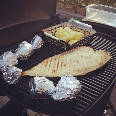Sole Fish BBQ and Potato Wedges