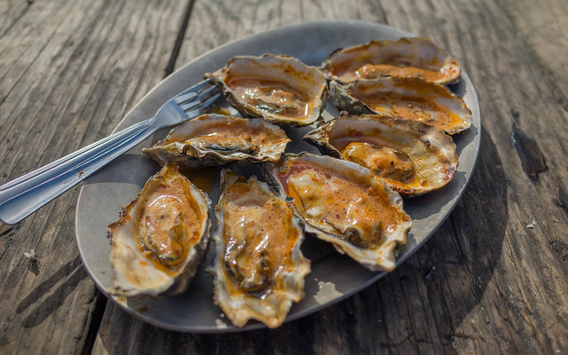 Chipotle bbq oysters with homemade salsa fresca