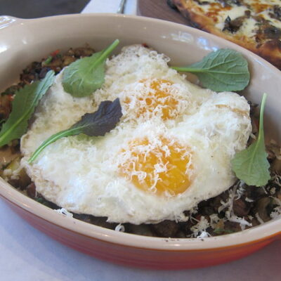 Brisket hash with fried eggs