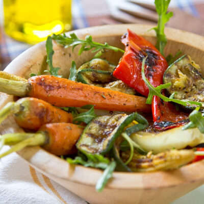 Grilled Harvest vegetables with Rosemary– Red wine Sauce