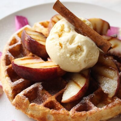 Grilled Waffles with Grilled Fruit and Maple Whipped Cream