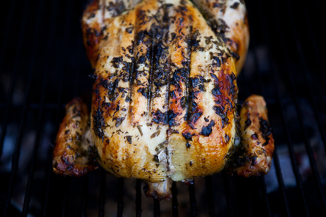 Roasted Chicken Grilled with Hot Pepper pears and honey