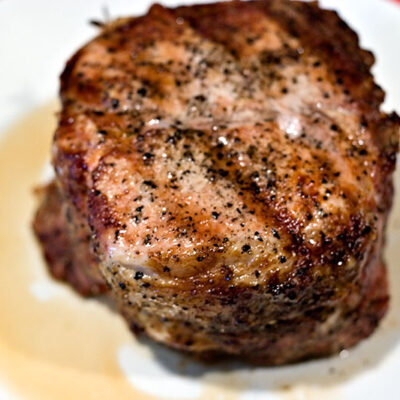 Rubbed and grilled pork Loin